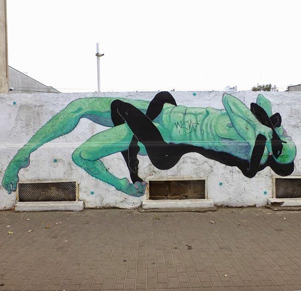 Street art in Lodz, Poland by Jan Wasinski (Photo by Sztuka Uliczna)