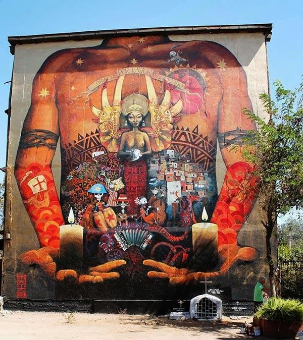 Street art in Miguel, Chile by Ekeko