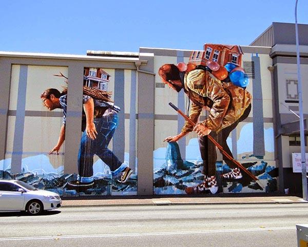 Street art in Perth, Australia by Australian artist Fintan Magee