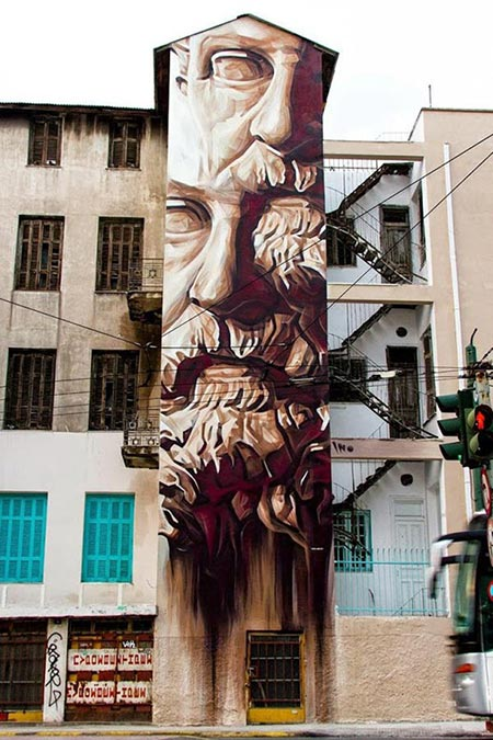 iNO mural in Athens, Greece