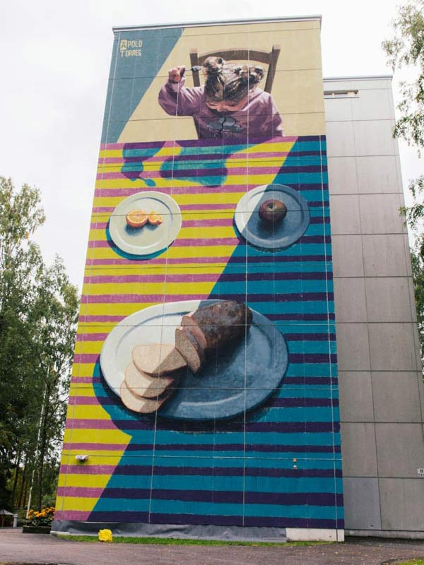 Urban art by Apolo Torres for UPEA Street Art Festival 2017 in Finland (photo by Anna Vlasoff)