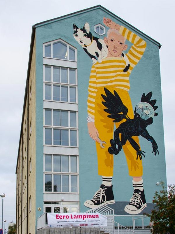 Urban art by Eero Lampinen for UPEA Street Art Festival 2017 in Finland (photo by Henrik Dagnevall)