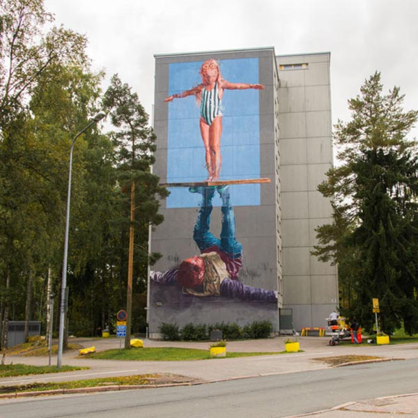 Urban art by Fintan Magee for UPEA Street Art Festival 2017 in Finland (photo by Tomi Salakari)