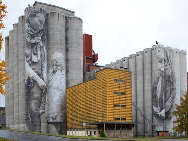 Urban art by Guido Van Helten for UPEA Street Art Festival 2017 in Finland (photo by Erho Aalto)