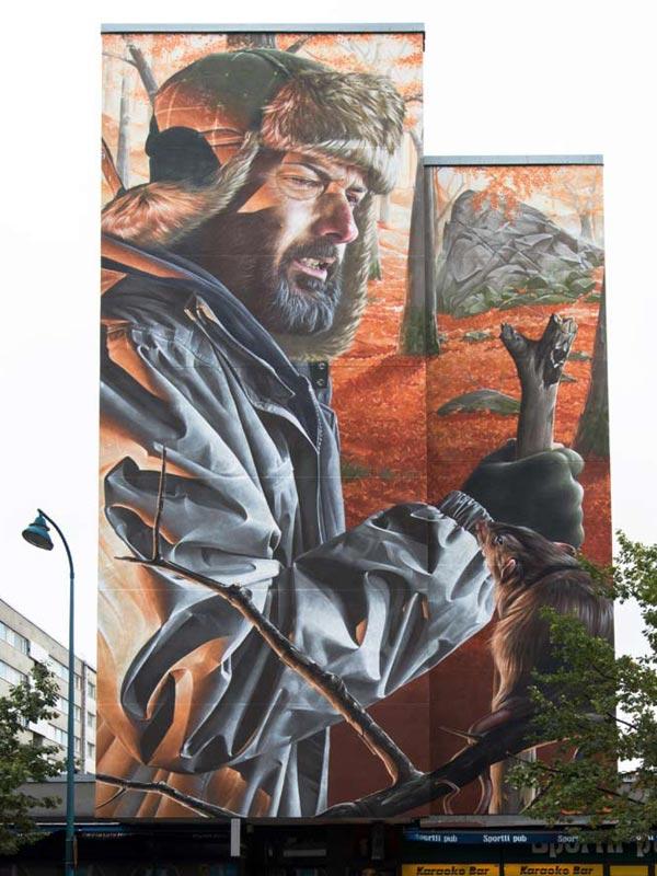 Urban art by Smug for UPEA Street Art Festival 2017 in Finland (photo by Tommi Mattila)