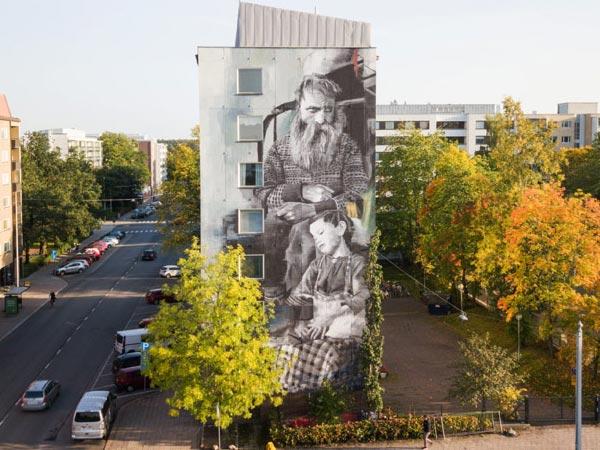 Urban art by Wasp Elder for UPEA Street Art Festival 2017 in Finland (photo by Matti Nurmi)