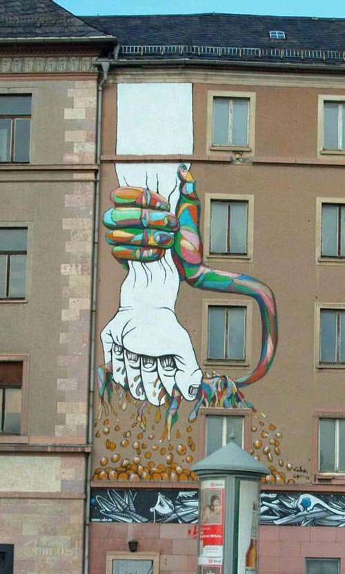 Cool Street Art - Capitalism vs Art for Color Revolution 2012 in Berlin, Germany by Lake