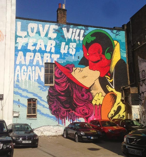 Awesome Vision and Scarlet Witch street art by Cept