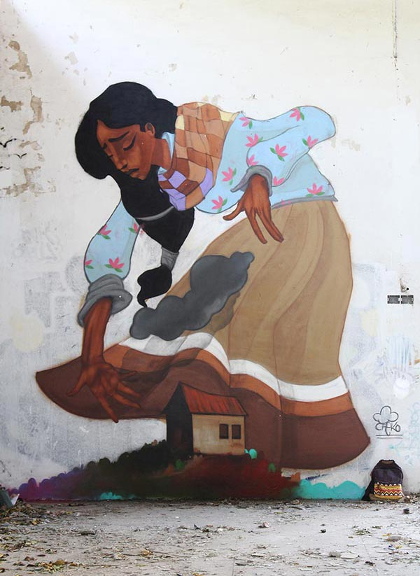 Cool Street Art - Cheko completed work on Nube Gris (2014)