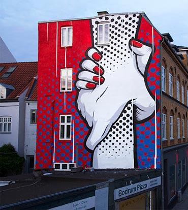Cool Street Art - Chifumi creates a new mural in Horsen, Denmark (Street Art News)