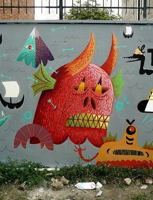 Cool Street Art - French artist Nicolas Barrome