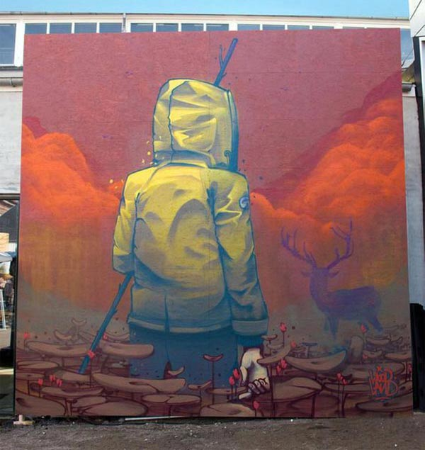 Cool Street Art - German artist Mr Woodland in Aarhus, Denmark for the Aarhus Art Convention (Street Art News)