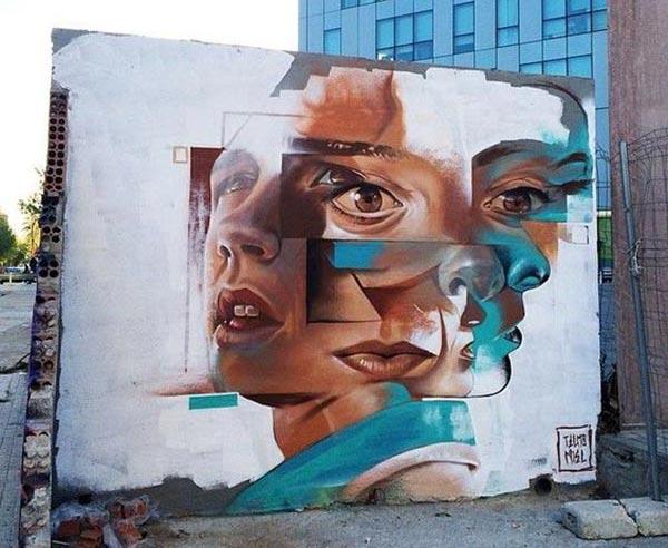 Street art by Telmo Miel in Barcelona, Spain