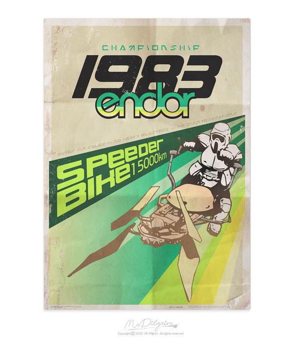 80's style retro Star Wars poster for the 1983 Speeder Bike championship by Mr Pilgrim